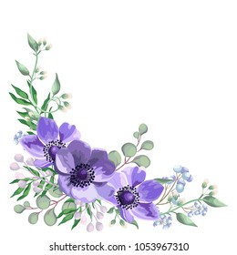 Blue anemone flowers with leaves, floral border with eucalyptus, dry flowers, berry branch. Wedding watercolor invite card, romantic design. Boho isolated vector in rustic elegant style.