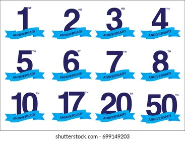 Blue anniversary logo set