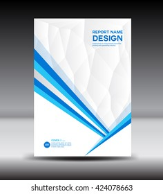 Blue annual report brochure flyer design template vector, Leaflet cover presentation abstract flat background, layout in A4 size