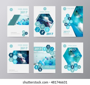 Blue annual report brochure flyer design layout template vector illustration, Leaflet cover presentation with blurred background with team surgeon at work in operating room, Set design in A4 size