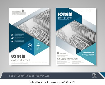 Blue annual report brochure flyer design template. Leaflet cover presentation abstract background for business, magazines, posters, booklets, banners.