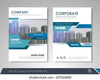 Blue annual report brochure flyer design template. Leaflet cover presentation abstract background for business, magazines, posters, booklets, banners. Layout in A4 size. Easily editable vector format.