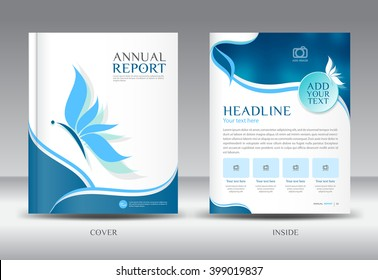 Blue Annual report template vector illustration,Brochure flyer, cover design, catalog, leaflet, magazine ads