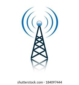 Blue antenna mast sign on white