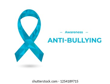 Blue anti-bullying awareness ribbon. Colorful vector illustration for web and printing.