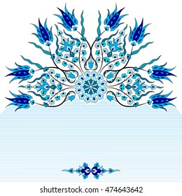 blue antique ottoman turkish design pattern vector