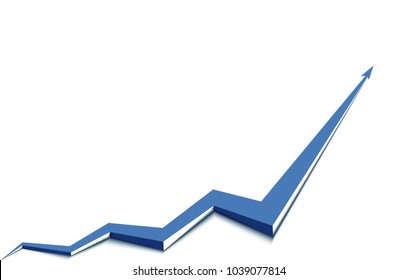 blue arrow graph goes up white background