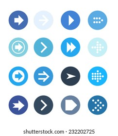 Blue arrow sign icon set. Simple circle shape with flat color.