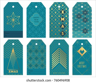 Blue art deco gift tags for christmas