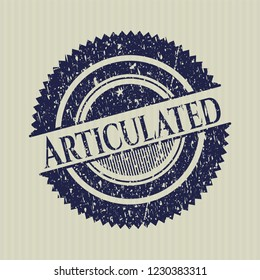 Blue Articulated rubber stamp with grunge texture