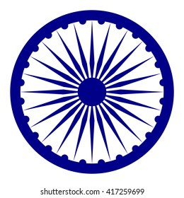 Blue Ashoka Wheel Indian symbol - Ashoka Chakra