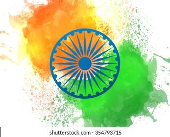 Blue Ashoka Wheel on National Flag colours splash background for Happy Indian Republic Day celebration.
