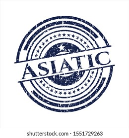 Blue Asiatic distress rubber stamp with grunge texture
