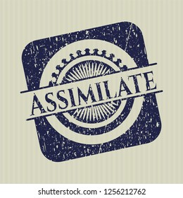 Blue Assimilate distressed grunge style stamp