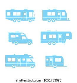 Blue auto RVs, Camper cars / vans, Truck Trailers, recreational vehicles vector icons, isolated on white background