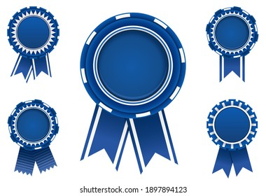Blue award badge set with ribbons.Vector illustration.