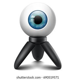 Blue azure eye ball camera 360 degrees tripod stand concept idea realistic vector image illustration