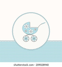 Blue baby arrival card with pram