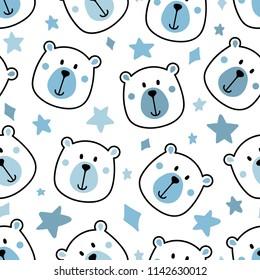 Blue Baby Boy Bear Seamless Repeat Pattern Nursery Star Background