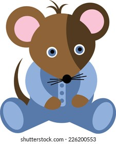 Blue Baby Boy Mouse Cartoon