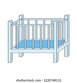Blue baby cot for boy - original hand drawn illustration