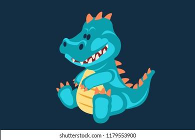 Blue baby dinosaur toy cartoon design vector illustration