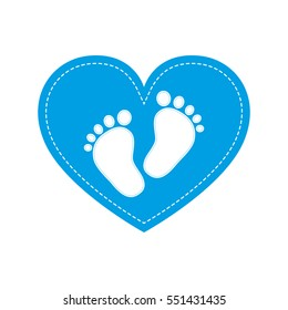 Blue baby footprints in the center on blue heart. Baby footprints as a symbol of pregnancy or childbirth. Vector illustration.