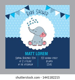 blue baby shower card with cute baby elephant bathing and pennants vector illustration