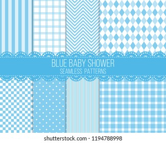 blue baby shower seamless patterns set