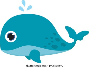 Blue baby whale, illustration, vector on a white background.