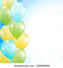 blue background with bright balloons as a border. vector