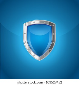Blue background with bright silver steel shield