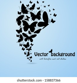Blue background with butterflies silhouettes. eps10