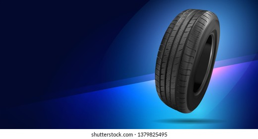 Blue background with car tire. Billboard. Outdoor advertising. Image tires. Poster.