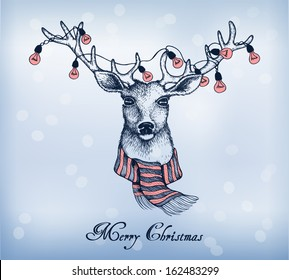 Blue background with christmas santa reindeer. Hand-drawn card. Vector illustration in a sketch style.