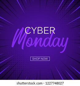 Blue background comic zoom with text cyber monday. Vector illustrations. Cyber Monday banner design