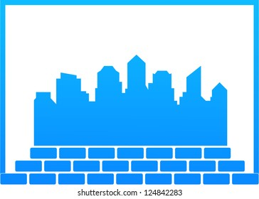 blue background - construction symbol with city and bricks