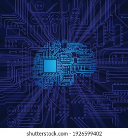Blue background with electric circuit board and human brain silhouette. Digitalpeople life wallpaper with light rays