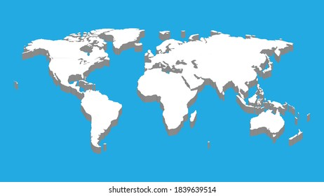 Blue background. Flat Earth, gray map template for web site pattern, anual report, inphographics. Globe similar worldmap icon. Travel worldwide