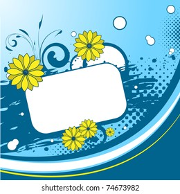 Blue background with flourishes, flowers, blots and a place for text