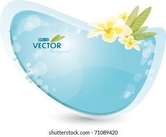 Blue background with frangipani, eps-10