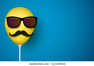 Blue background with funny yellow realistic 3d balloon with mustache in sunglasses. Vector illustration.