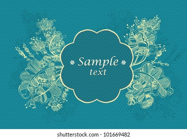 Blue background with GOLD ABSTRACT FLOWERS AND POINTS