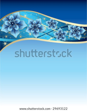 Blue Background With And Gold Flowers