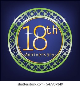 blue background and green circle 18th anniversary