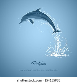 blue background with jumping dolphin and a splash of water