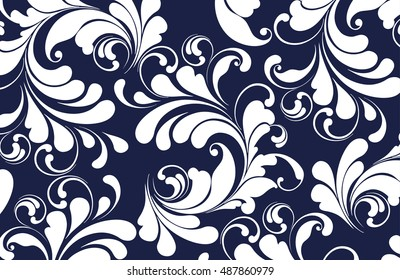 Blue background with Lacy white pattern. Decoration of the design.