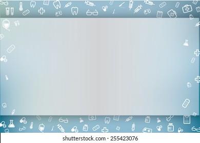blue background of medical line icon design, vector