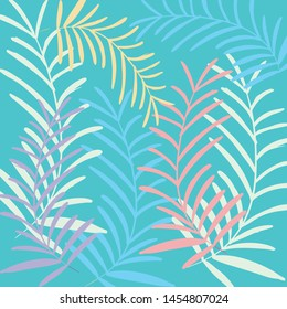 Blue background on tropical leaves pattern vector