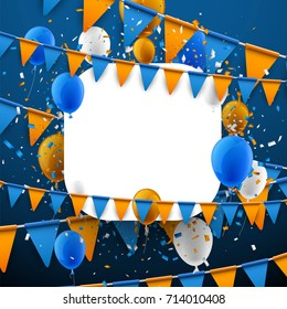 Blue background with orange flags, balloons and confetti. Vector paper illustration.